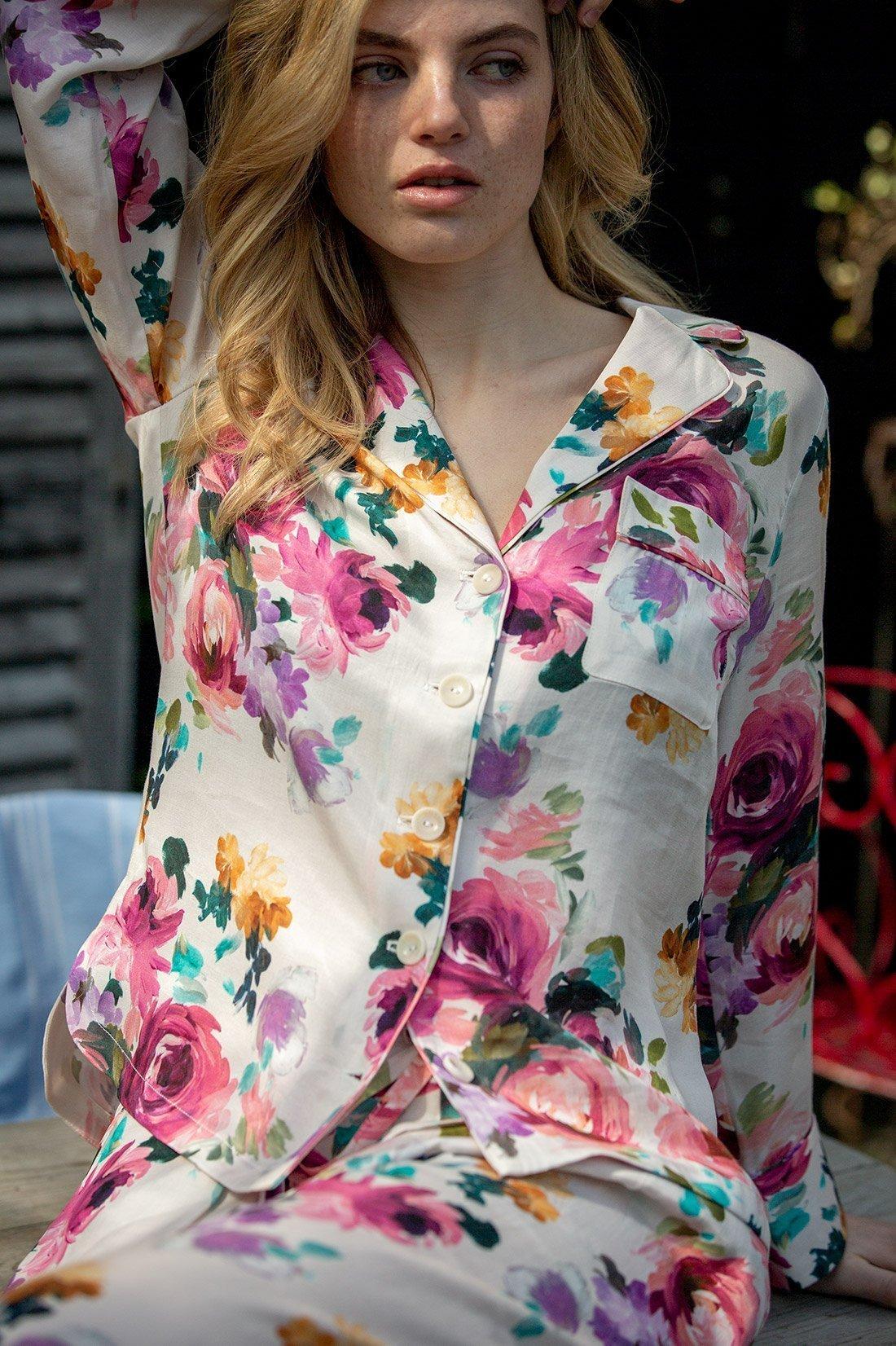 Orchard Moon Sustainable luxury pyjamas Camille print in the garden