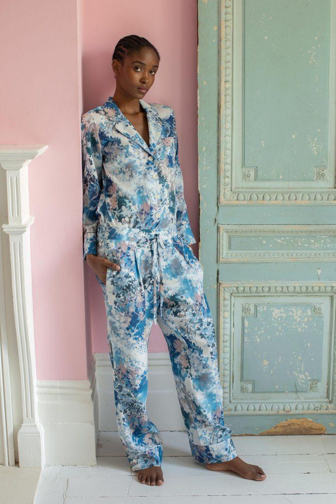 Orchard Moon Sustainable luxury pyjamas Ephemeral Bloom print