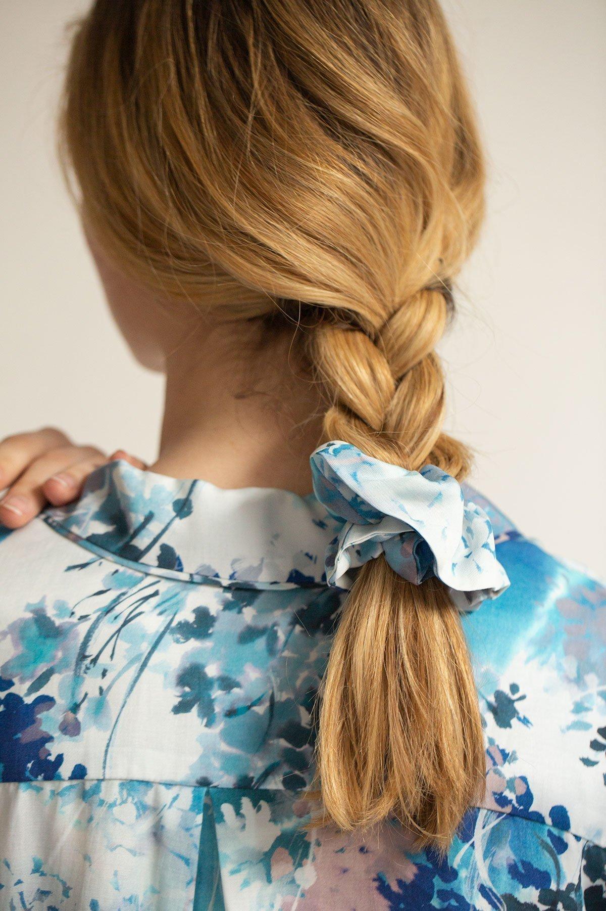 Orchard Moon Sustainable luxury scrunchie Ephemeral Bloom print
