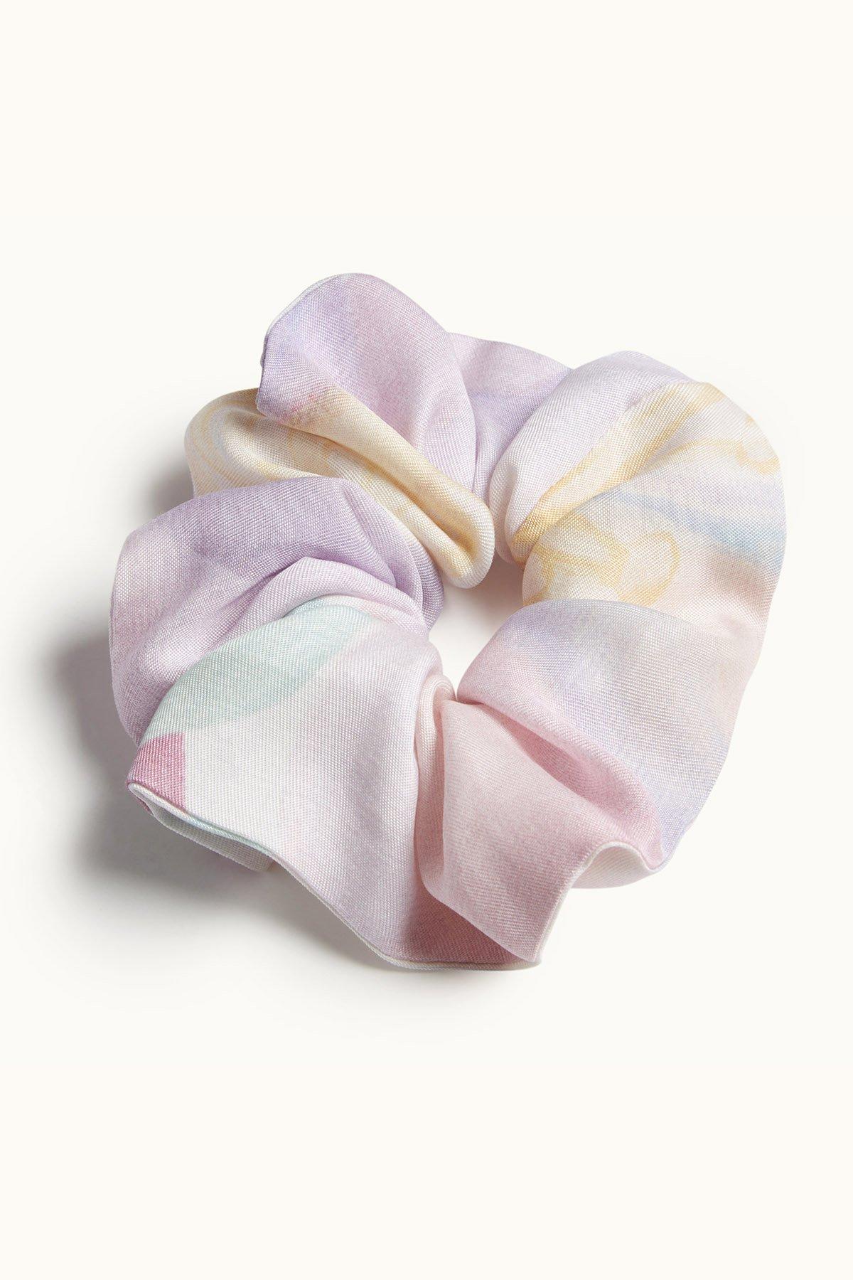 Orchard Moon Sustainable luxury scrunchie Wild Rose print