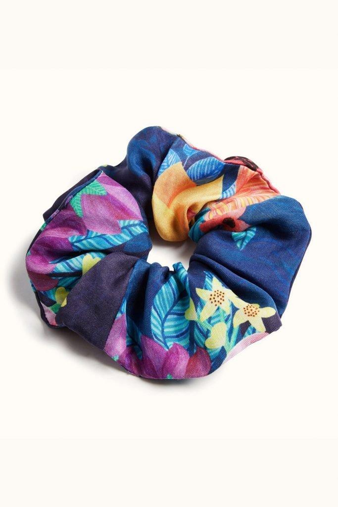 Orchard Moon Sustainable luxury scrunchie Calypso print
