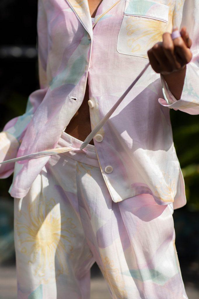 Orchard Moon Sustainable luxury pyjamas Wild Rose print