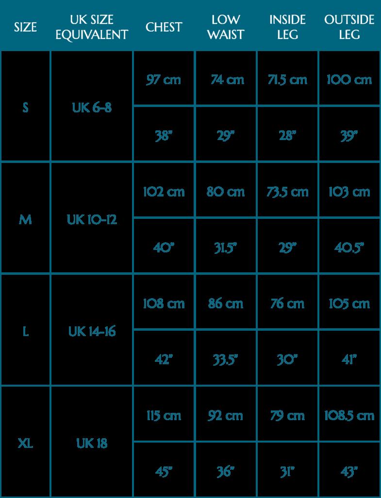 Pyjama Size Guide